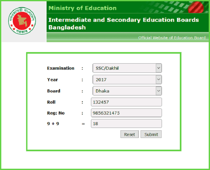 Dakhil Result Online From Official Website